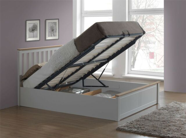 Phoenix Wood Ottoman Bed Frame Storage Small Double 4ft Pearl Grey