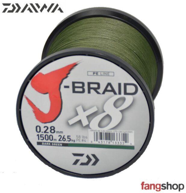 Daiwa J-Braid 8 Braid 150m dunkelgr/ün geflochtene Angelschnur