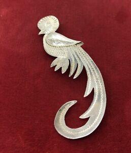 Vintage-Sterling-Silver-Brooch-Pin-925-Bird-Signed-Animal-Peacock