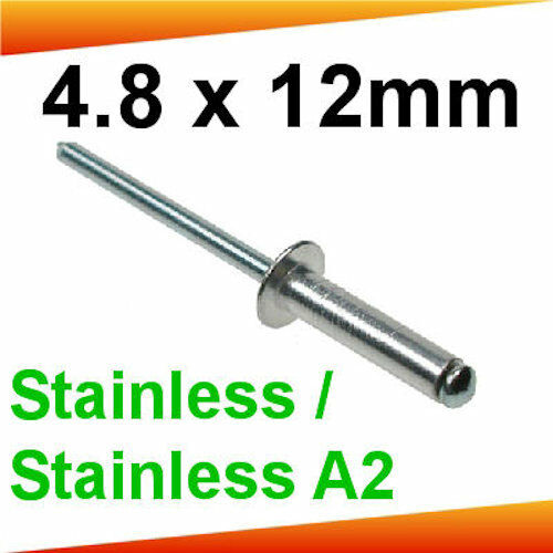 Stainless Steel A2 Rivets 4.8 x 12mm Dome Head x 50