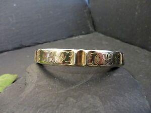 Antiker-900-Silber-Armreif-Jugendstil-Art-Deco-Vergoldet-BT-Signiert-Verziert