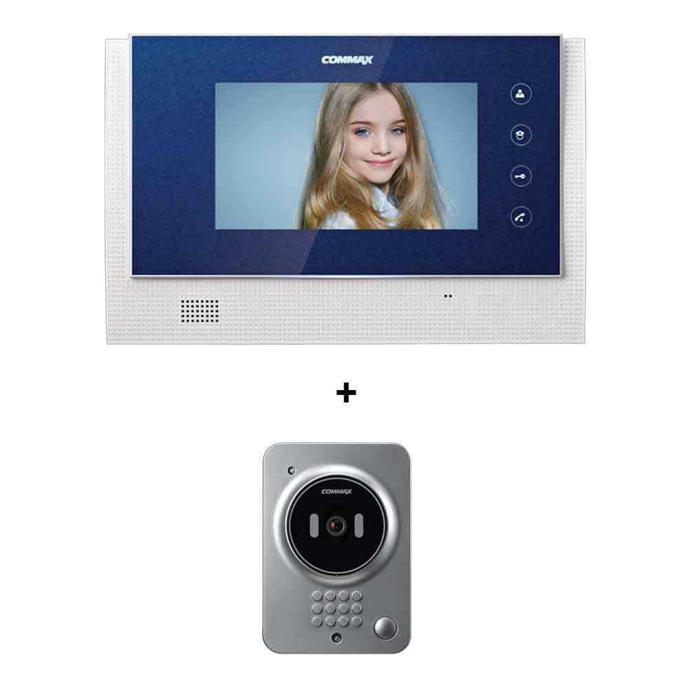 Commax LCD de 7 pulgadas de ancho de la puerta de intercomunicación de Color CAV-70C cámara de DRC-41QC LED sin manos