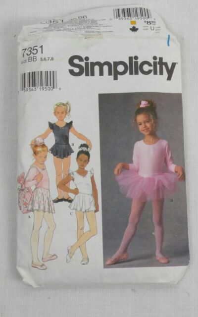 Simplicity 7351 Girls Ballet Dance Leotards Tutu Skirts Pattern Sz 5 ...