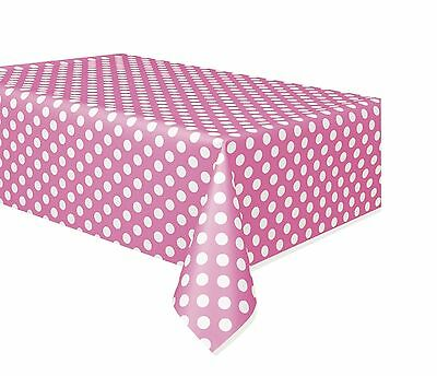 PINK POLKA DOTS - Plastic Tablecover -  (137cm x 274cm) Spots Birthday Party
