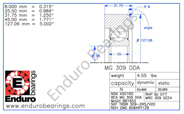 "NMD MG309-2RS-1 FORK LIFT MAST GUIDE BEARING 309SZZ-4 MG309DDA 45mm ID 5/"" OD"