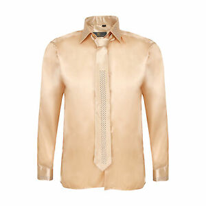 1c887e159fa9 Details about Robelli Men's Diamante Collar Cuff Satin Shirt & Matching Tie  - Champagne Gold