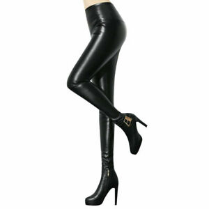 Frauen-Stretchy-Faux-Leder-Hose-Skinny-Hohe-Taille-A3Z2-Hos-b-Bleistift-Leg-J1C1