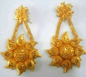 Details About 22k Gold Plated Long Designer Jhumka Earrings Indian Wedding Party Set B