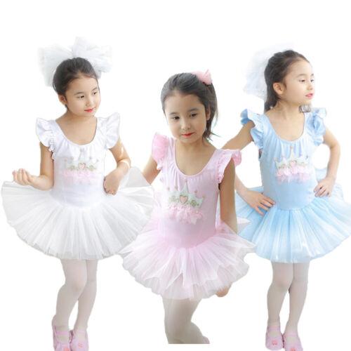 Kids Girls Ballet Leotard Tutu Dress Crown Ballerina Skirt Dancewear Gym Costume