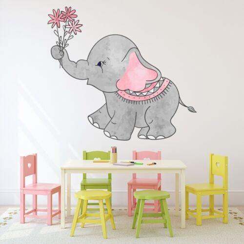 Cute Grey Elephant Nursery Wall Sticker WS-50869