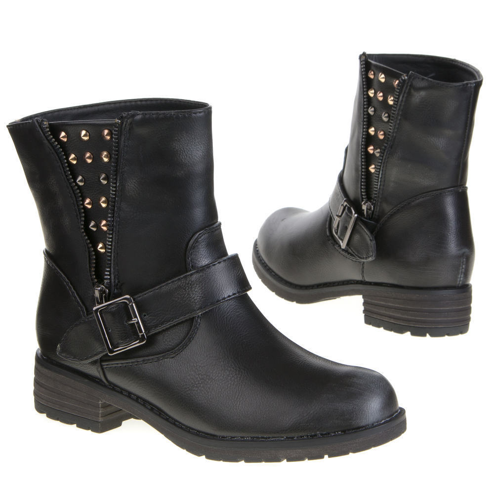 3 cm negras botas de motorista botines botas con tachuelas talla 36 37 38 39 41 8847