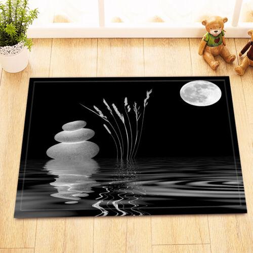"Full Moon Stone Zen Spa River Non-Slip Bathroom Carpet Bath Mat Rug Carpet24x16/"""