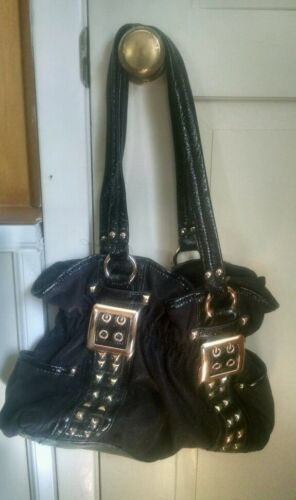 Edgy Black Studded, Buckled Bag
