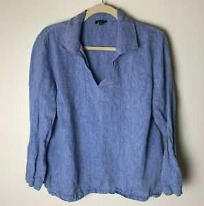 Talbots-Women-039-s-Top-Size-Large-3-4-Sleeves-100-Linen-Blue-Casual-V-Neck