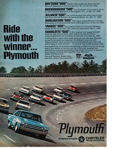 "1966 PLYMOUTH Hemi Richard Petty Marvin Panch Original Print Ad 8.5 x 11/"""