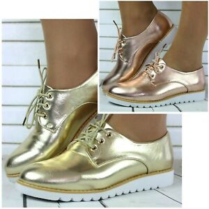 LADIES SHINNY BLACK GOLD FLAT CASUAL LACE UP PLATFORM BROGUE WORK SHOES SIZE 3