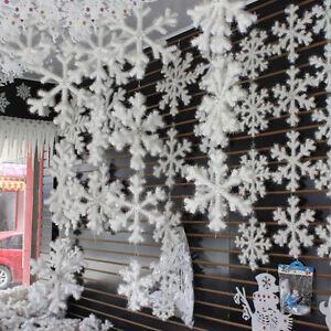 Details About 90pcs 11cm White Snowflakes Decorations Christmas Tree Party Charms Ornaments Uk