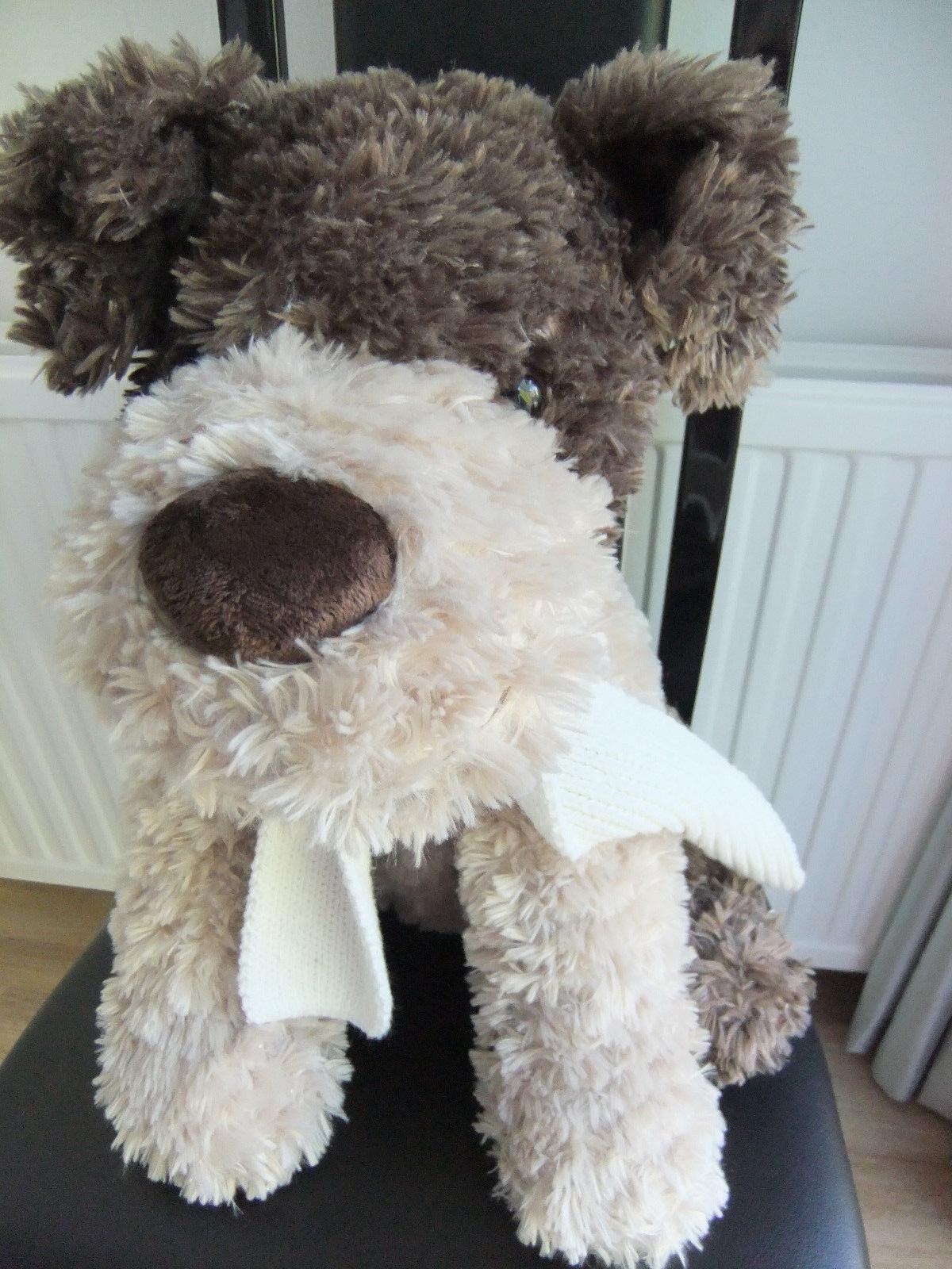 17  LARGE BHS TAN BEIGE BROWN PUPPY DOG CREAM SCARF TEDDY SOFT CUDDLY TOY NEXT H