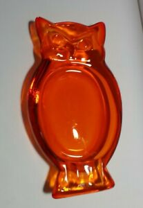 MCM-Art-Glass-Amberina-Orange-Owl-Ashtray-8-5-034-x-4-5-034-x-1-25-034
