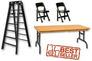 WWE-6-034-Black-Ladder-Brown-Wrestling-Table-amp-2-Black-Chairs-Figure-Accessories