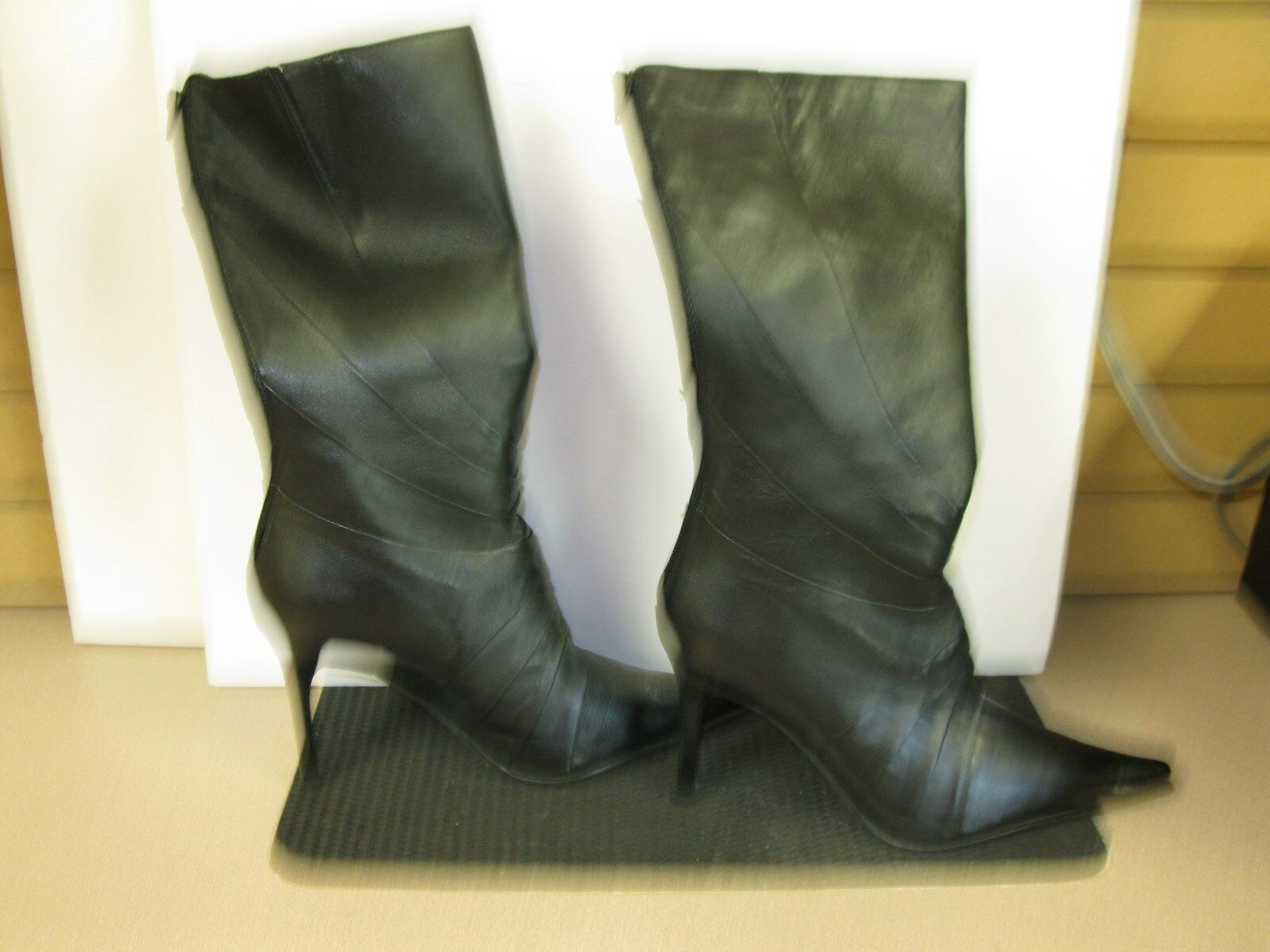 ALDO Boots High Heel Boots Mid Calf Black Pointed Toe Quality Leather Sz 40,10