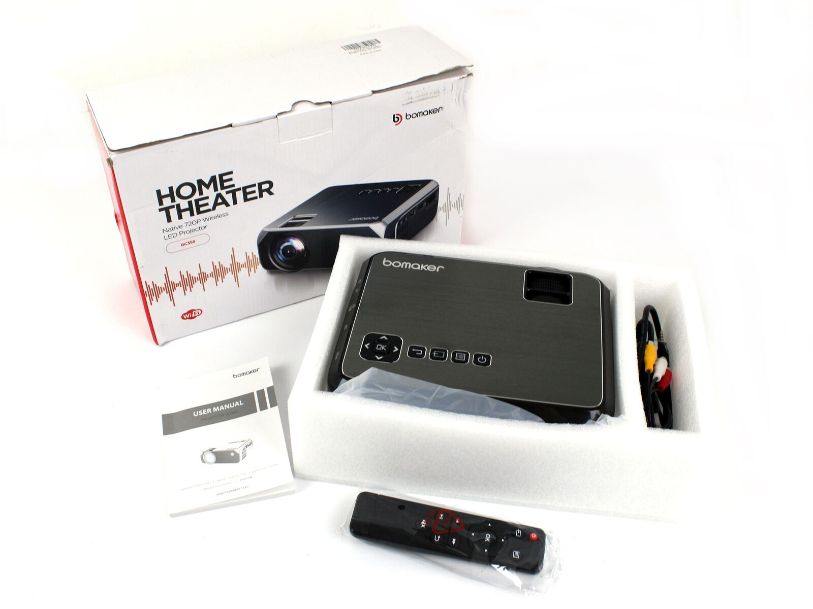 GC355 kcliquidation Bomaker Mone Theater Native 720p Wireless LED Projector GC355