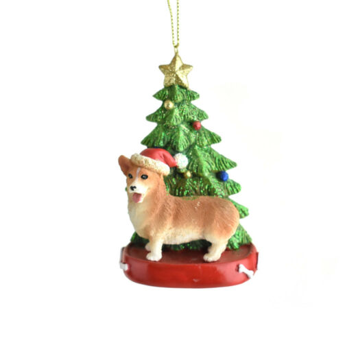 4-1//4-Inch Santa Hat Corgi with Christmas Tree Ornament