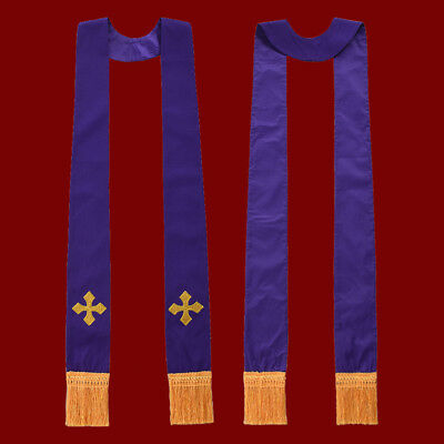 1pc Church Communion Embroidered Stole Cross Visitation// Confessional Stole