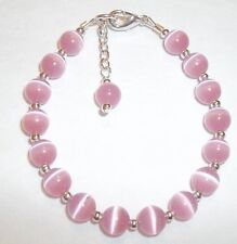 Toddler Child Girl Bracelet: Pink Cat's Eye Sterling Silver Plated Handcrafted