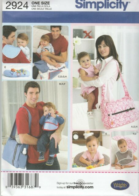Simplicity Sewing Pattern 2924 Baby Accessories Nappy Wipes Bag Change Mat Bibs