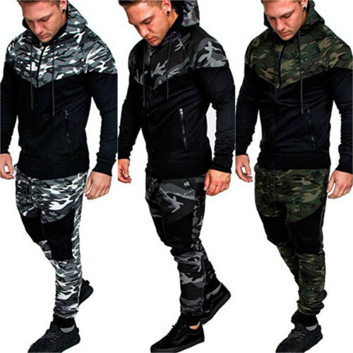Men/'s Sports Pants Tracksuit Hoodies Hooded Sweatpants Set Camo Splice Trousers