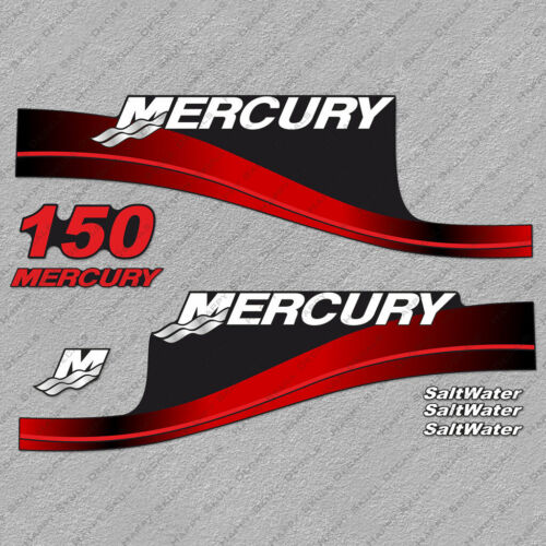 Mercury 150hp SaltWater Edition outboard engine decals RED sticker set