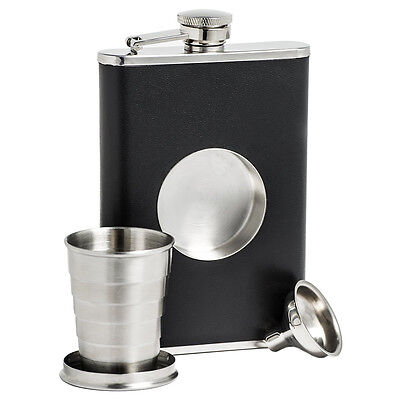 Stainless Steel Black Flask Collapsible SHOT GLASS Screw Cap Hip Pocket Funnels