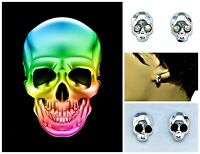 "Skull ""magnetic"" Clip On Stud Earrings - Clear Or Black Crystal Eyes –gift Pouch"