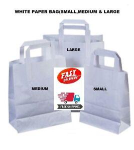 15 X MEDIUM WHITE KRAFT CRAFT PAPER SOS CARRIER BAGS 80GMS FOOD TAKE AWAY BAG