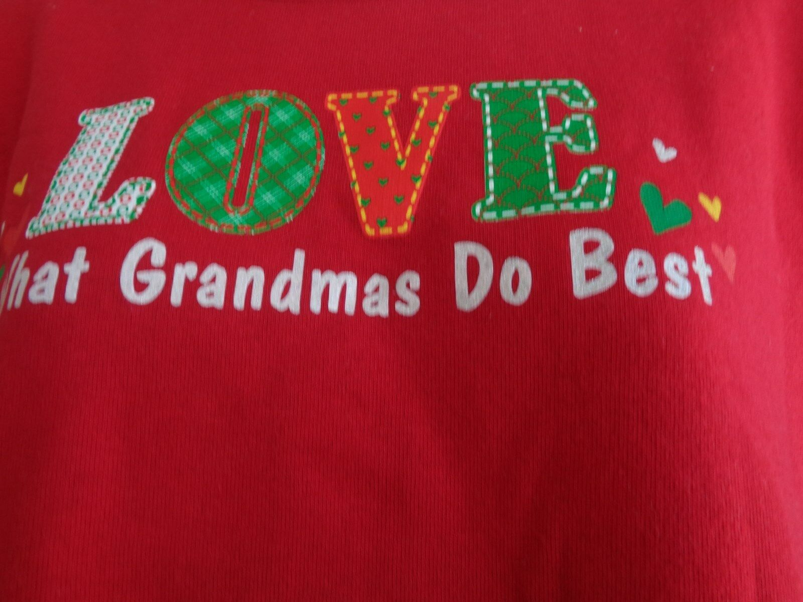 NWT Hanes  S Christmas Glitzy Grandma Love  Graphic Crew Neck  Sweatshirt   Red