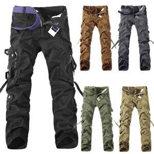 Uomo-Escursione-da-Campeggio-Esercito-Carico-Militare-Pantaloni-Outdoor-Lavoro