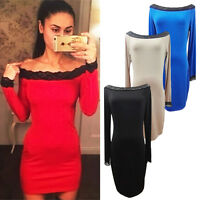 Sexy Womens Lace Off Shoulder Mini Dress Long Sleeve Party Bodycon Club Cocktail
