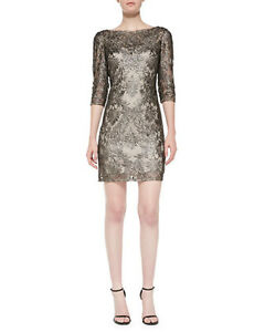 37bfc55d0bd NWOT black   bronze Kay Unger New York 3 4-Sleeve Metallic Lace ...
