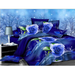 3D-Blue-Rose-Printed-Bedding-Set-Pillowcase-Quilt-Cover-King-Queen-Twin-Bed-Size