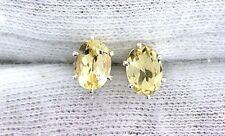8x6 Oval Citrine Gemstone Gem Stone Sterling Silver Pair Post Earring PE18