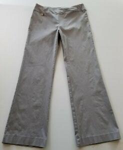 Zac-amp-Rachel-Women-s-Flat-Front-Dress-Pants-12-Gray-Rayon-Blend-Stretch-Career