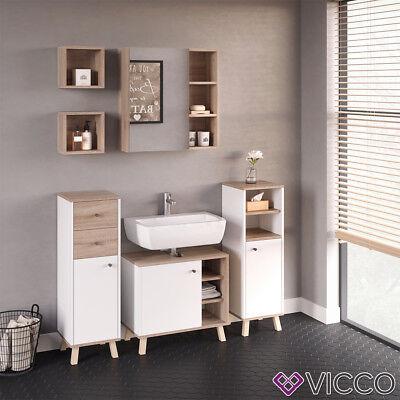 VICCO Badmöbel Set SENYO Weiß Sonoma Eiche Badschrank Spiegel Unterschrank