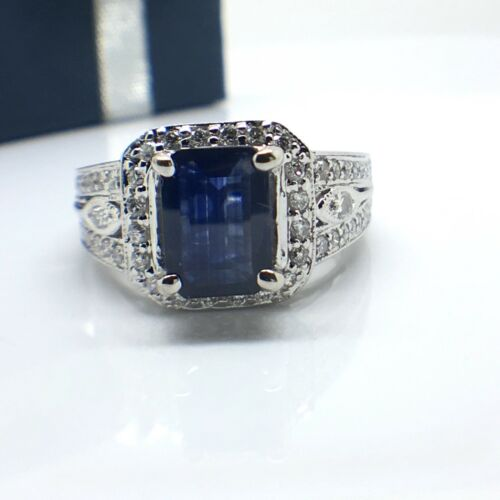 14k solid white gold natural diamonds and emerald cut sapphire ring