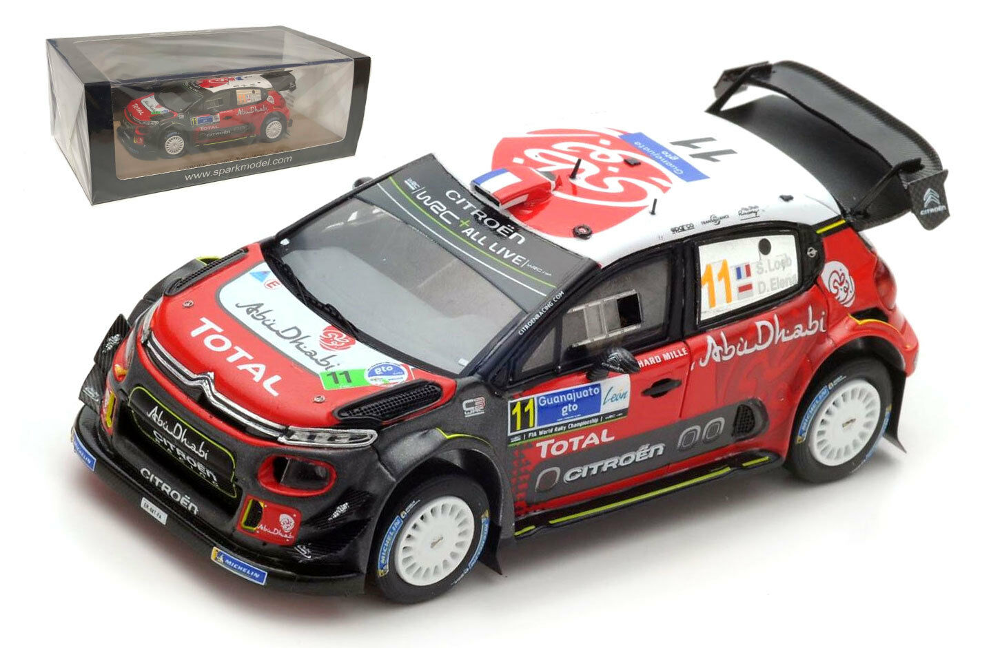 Spark S5962 Citroen C3 WRC Rally México Sebastien Loeb 1 43 Escala