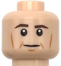 Lego New Light Flesh Minifigure Head Dark Brown Eyebrows Mustache Eye Bags