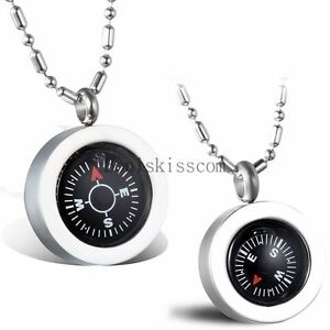Stainless-Steel-034-Love-034-Heart-Compass-Men-039-s-Women-039-s-Couples-Pendant-Necklace