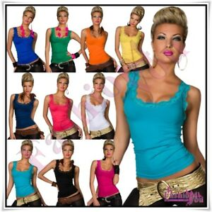 Sexy-Ladies-Lace-Vest-Top-Women-039-s-Summer-Casual-Tank-Top-Size-8-10-12-14-UK