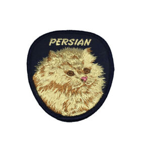 Vintage-Longhair-Persian-Cat-Twill-Cotton-Patch-Approximately-3-5-034-x-3-034