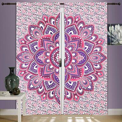 Window Door Drape Valance Indian Mandala Hippie Boho Curtains Tulle Sheers Voile
